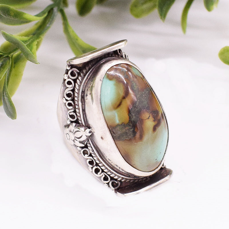 Sterling Silver Saddle Green/ Brown Turquoise Ring Size 8.5