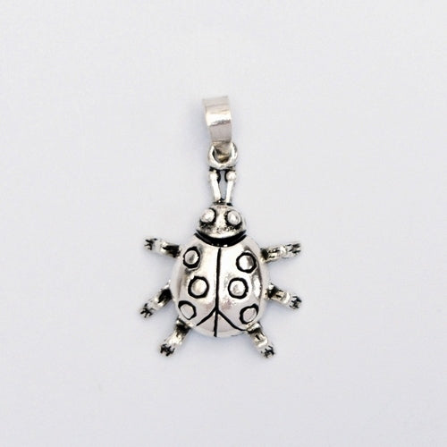 New Sterling Silver 925 Articulated/Movable Ladybug Animal Pendant