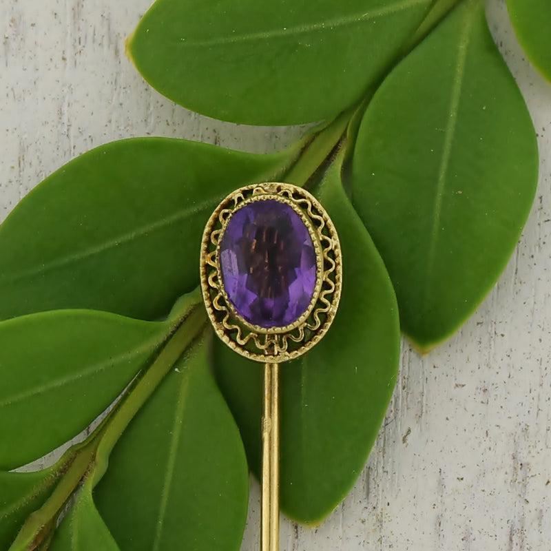 14k Yellow Gold Antique Oval Amethyst Stick Pin