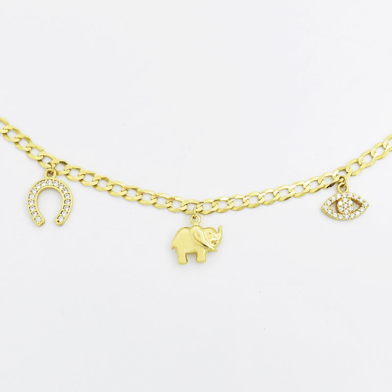 "14k Yellow Gold Estate 7.5"" Lucky Charm Bracelet"