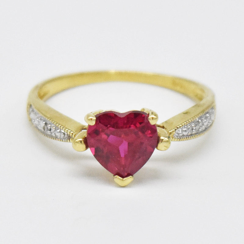 10k Yellow Gold Estate Heart Shape Love Ruby & Diamond Ring Size 7
