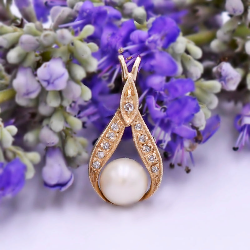 14k Yellow Gold Estate Pearl & Diamond Drop/Dangle Pendant