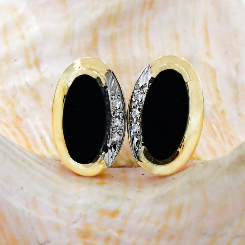 14k Yellow Gold Estate Diamond & Oval Onyx Gemstone Post Earrings