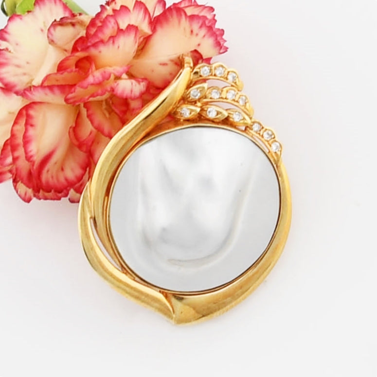 14k Yellow Gold Mother Of Pearl & Diamond Pendant