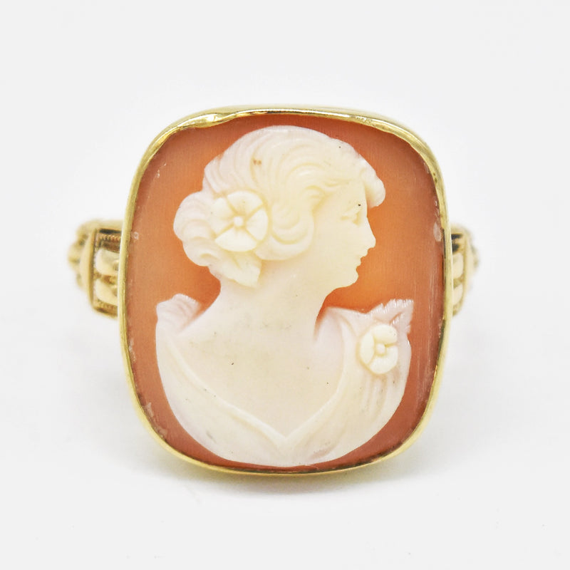 10k Yellow Gold Vintage Carved Cameo Ring Size 5.75
