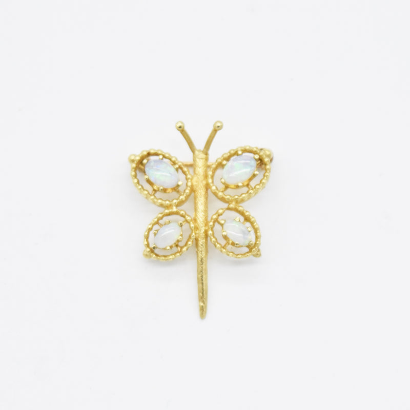 14k Yellow Gold Estate Open Work Fire Opal Dragon Fly Brooch/Pin