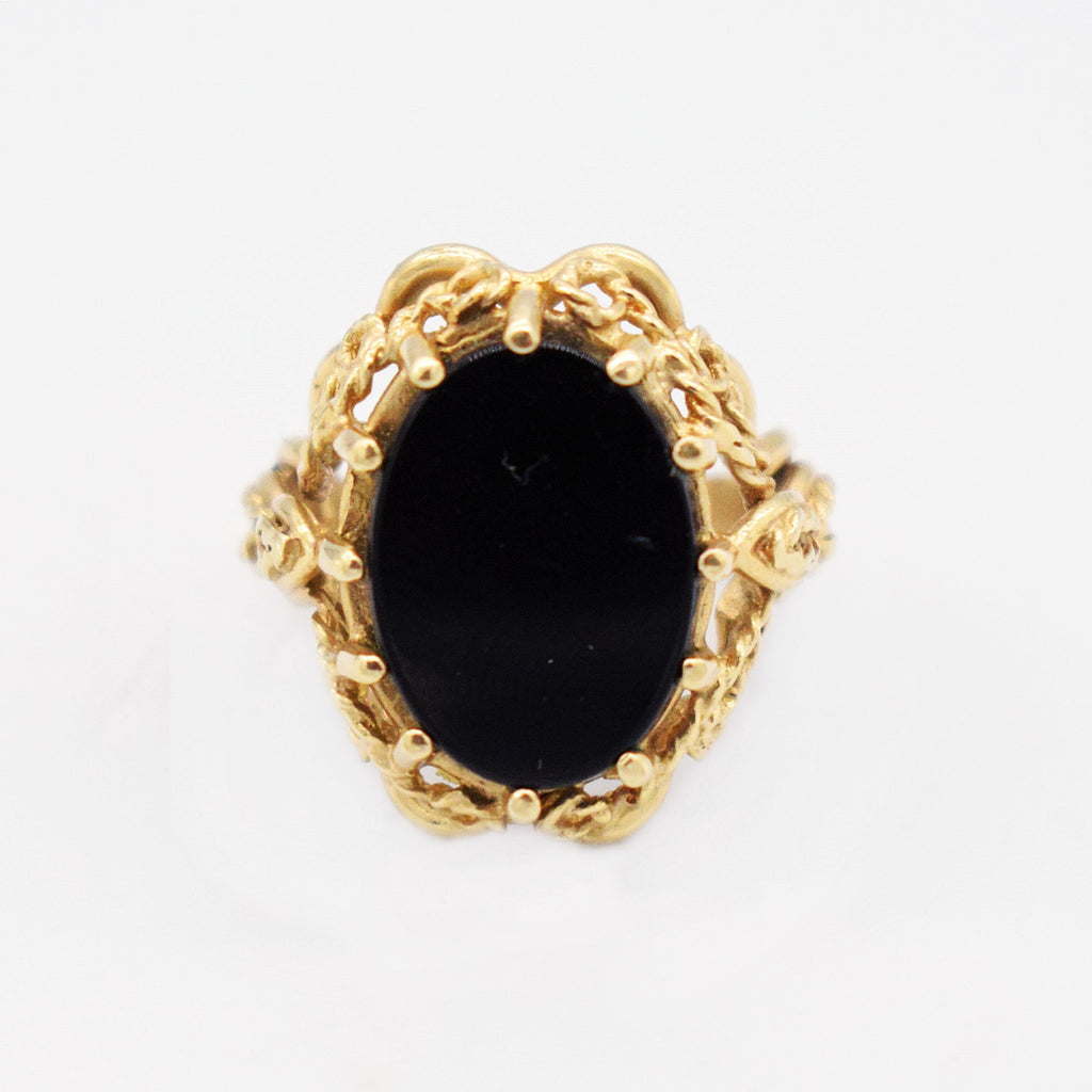 14k Yellow Gold Vintage Open Work Oval Black Onyx Ring Size 5.5