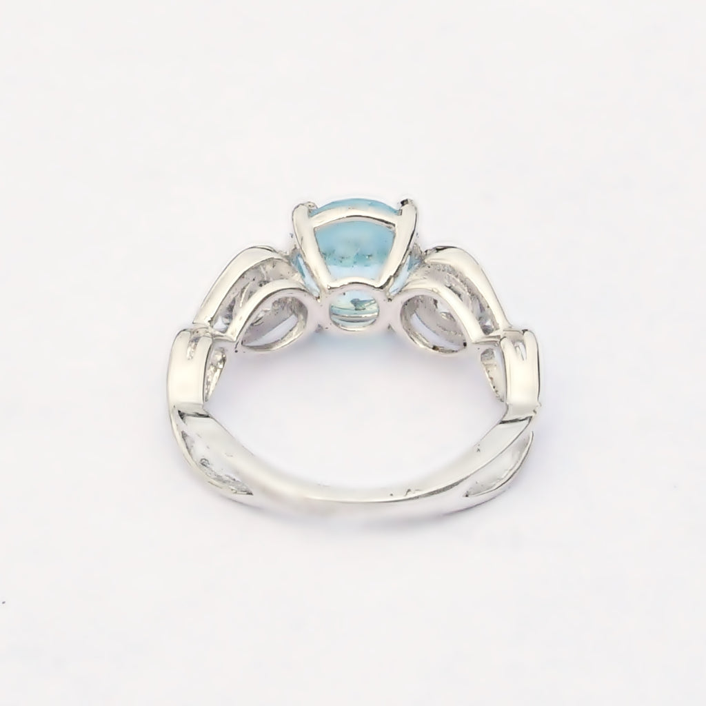 Sterling Silver 925 Estate Open Band Topaz & CZ Gemstone Ring Size 5