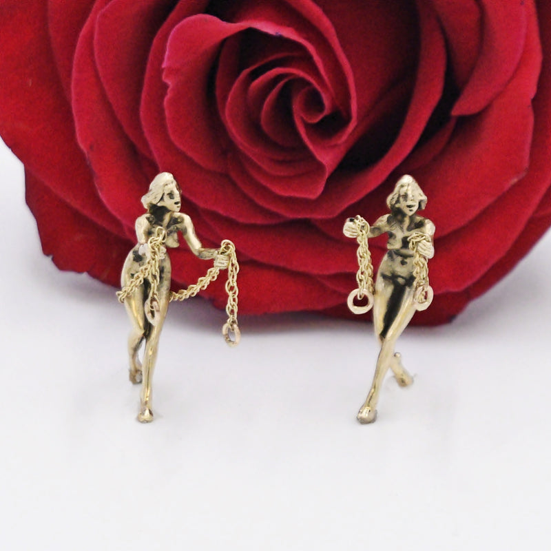 14k YG Nude/Naked Female/Woman On Swing Earring Enhancers/Jackets