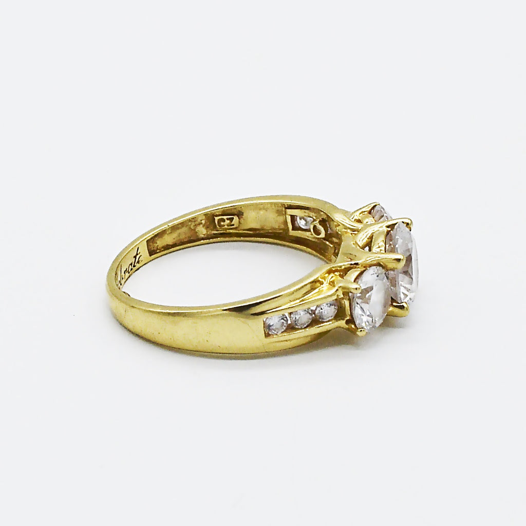 14k Yellow Gold Estate CELEBRATE 3 Stone CZ Ring Size 9