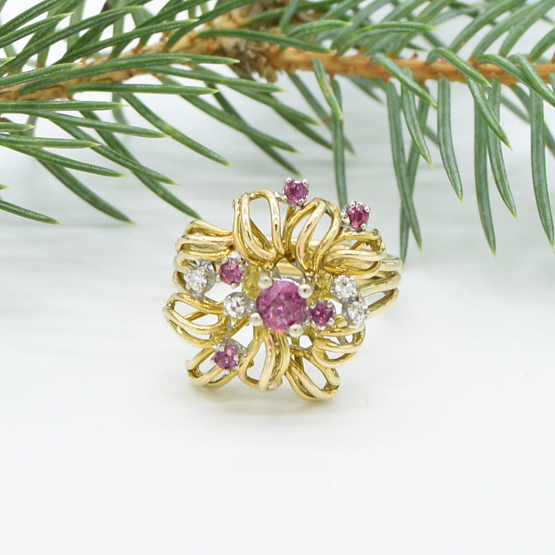 14k Yellow/White Gold Open Ruby & Diamond Cocktail Ring Size 7.75