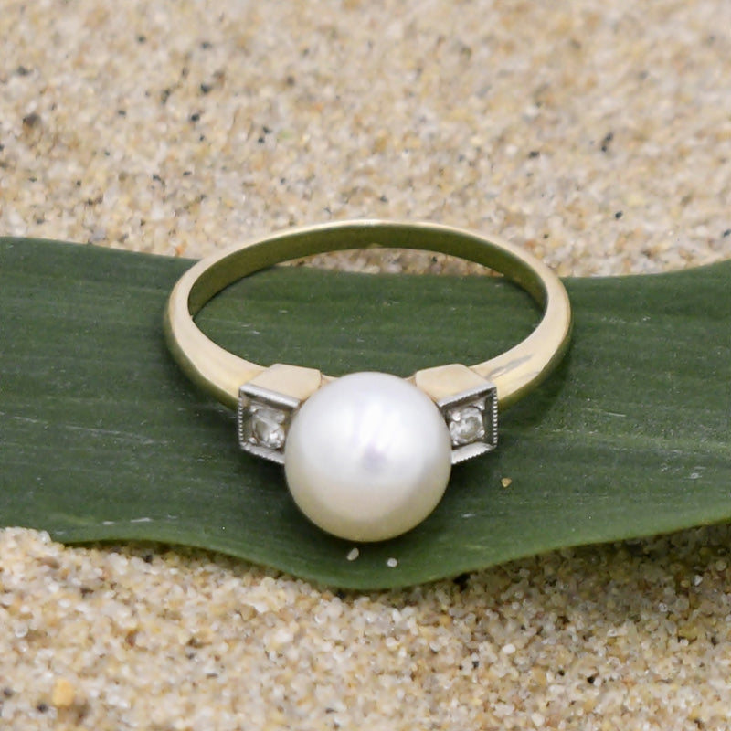 14k Yellow Gold Dsgnr R&S Pearl 8.1 mm And Diamond .06 tcw Ring Sz 7.5