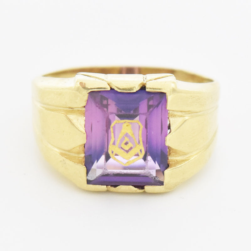 10k Yellow Gold Vintage Masonic Purple Sapphire Ring Size 11.25