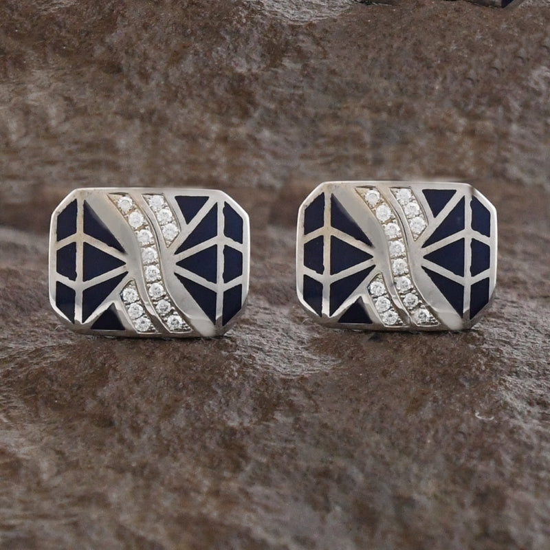 14k White Gold Estate TASHIR Diamond & Blue Enamel Cufflinks .60 tcw