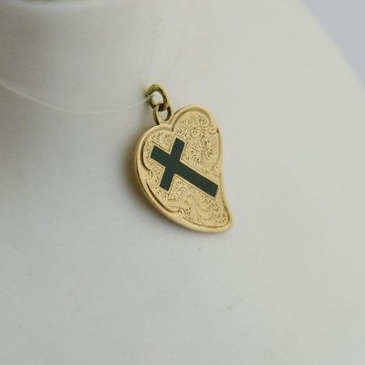 14k Yellow Gold Estate Textured Cross/Heart Pendant
