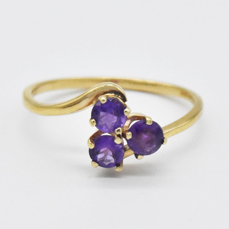 14k Yellow Gold Estate Amethyst 3 Stone Ring Size 7