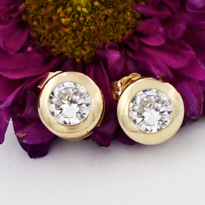 14k Yellow Gold Estate Bezel Set CZ Gemstone Post Earrings