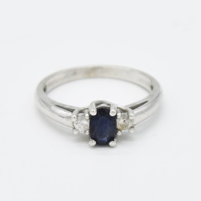 10k White Gold Estate Sapphire & Diamond Gemstone Ring Size 7