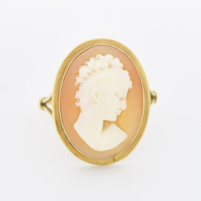 14k Yellow Gold Antique Carved Cameo Oval Ring Size 7.75