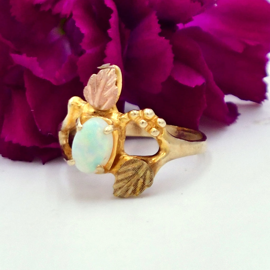 10k Yellow & Rose Gold Oval Fire Opal Leaf Motif Ring Size 6.25