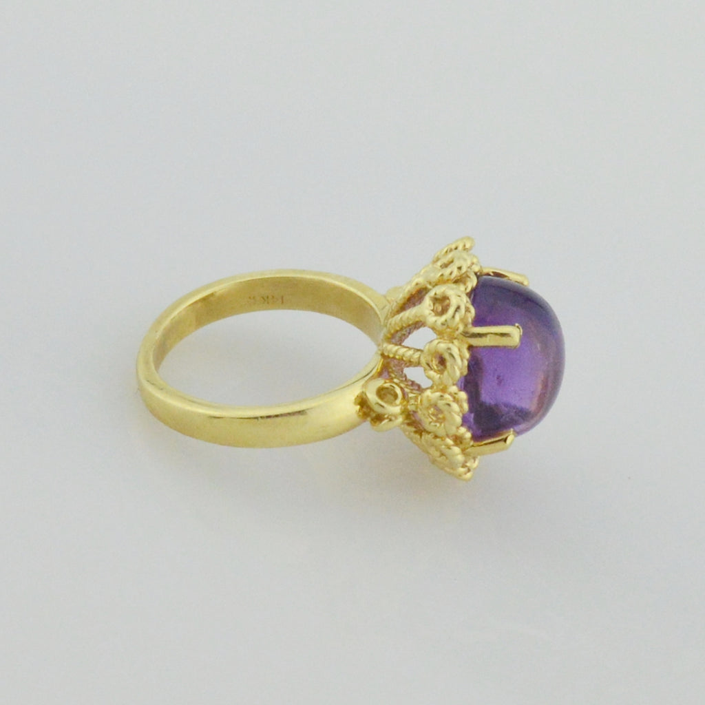14k Yellow Gold Estate Cabochon Amethyst Ring Size 2.25