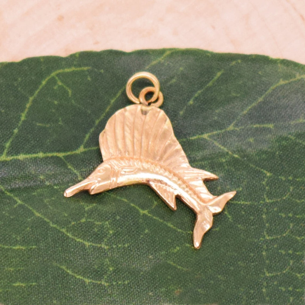 14k YG Nautical Diamond Cut Sailfish Pendant