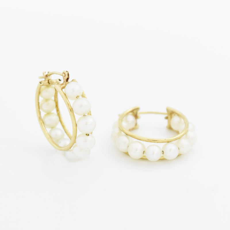 10k Yellow Gold Estate Pearl Hoop Earrings