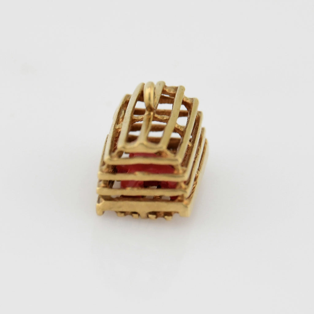 10k Yellow Gold Estate Carved Coral Lobster in Trap Charm/Pendant