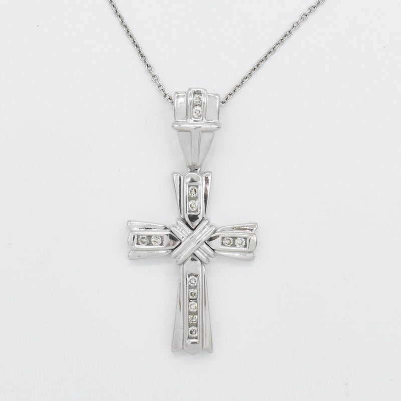 "14k White Gold Estate 18"" Diamond Cross Necklace"