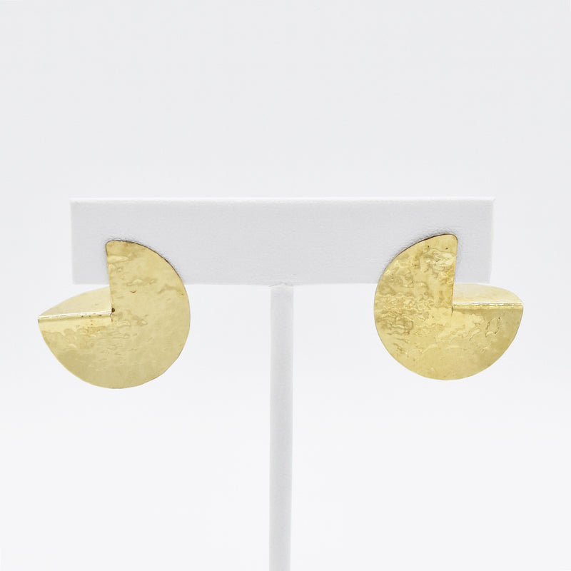 14k Yellow Gold Textured Mid Century Modern Post Earrings