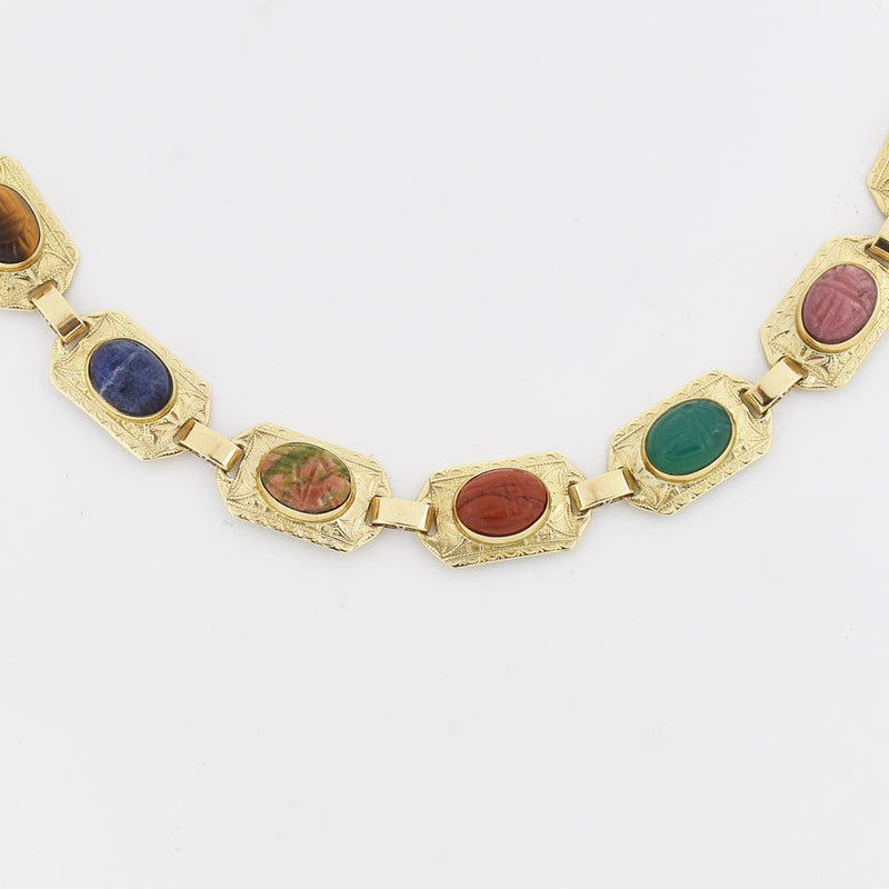 "10k Yellow Gold Estate 7.25"" Carved Scarab Link Bracelet"