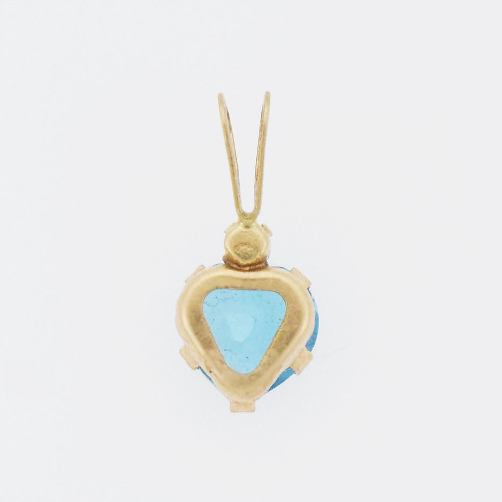 10k Yellow Gold Estate Blue Topaz & CZ Heart/Love Pendant
