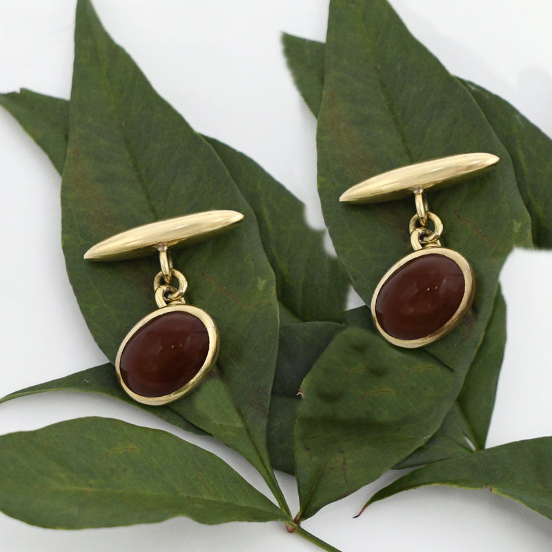 18k Yellow Gold Antique Carnelian Gemstone Cufflinks