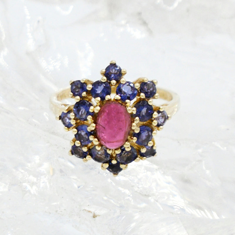 14k Yellow Gold Estate Cabochon Amethyst & Tanzanite Ring Size 7