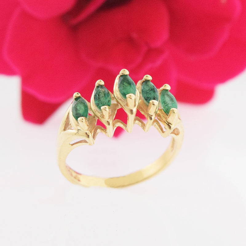 14k Yellow Gold Estate Emerald Pyramid Ring Size 6.75