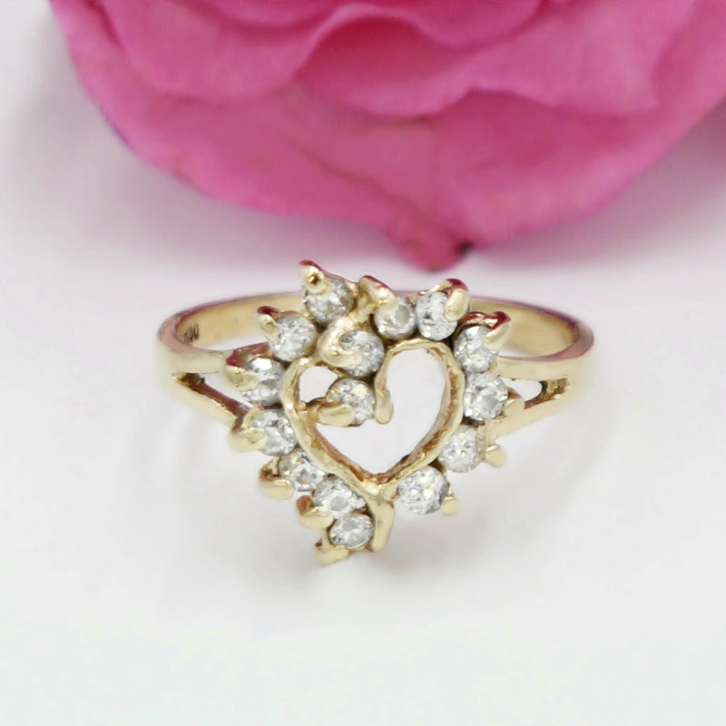 14k Yellow Gold Estate CZ Open Heart Shaped Ring Size 7.25