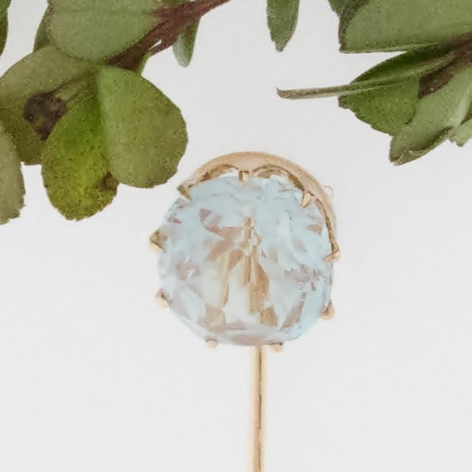 14k Yellow Gold Estate Large Crystal Stick Pin