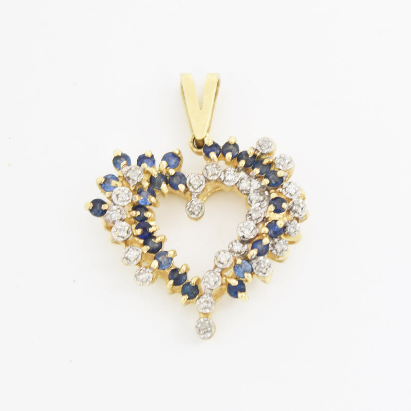 10k Yellow Gold Estate Sapphire & Diamond Gem Open Heart Love Pendant