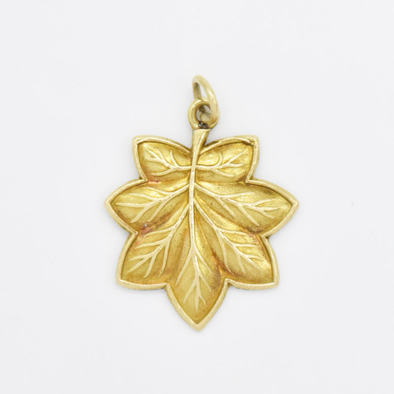 14k Yellow Gold Estate Carved Leaf Charm/Pendant