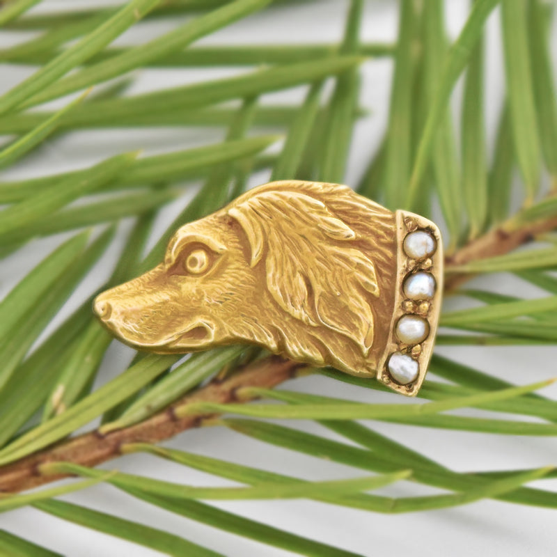 10k Yellow Gold Antique Pearl Carved Dog Head Pin