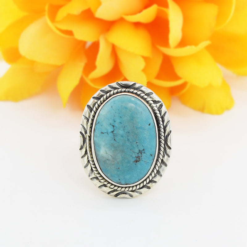 Sterling Silver 925 Carved Oval Turquoise Ring Size 9.25