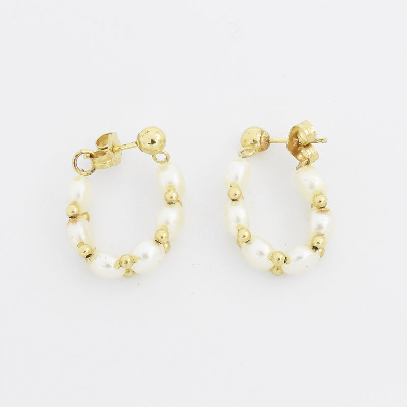 "14k Yellow Gold Estate 3/4"" Pearl Post Earrings"