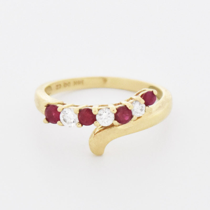14k Yellow Gold Estate Wrap/Swirl Ruby & CZ Ring Size 6.25