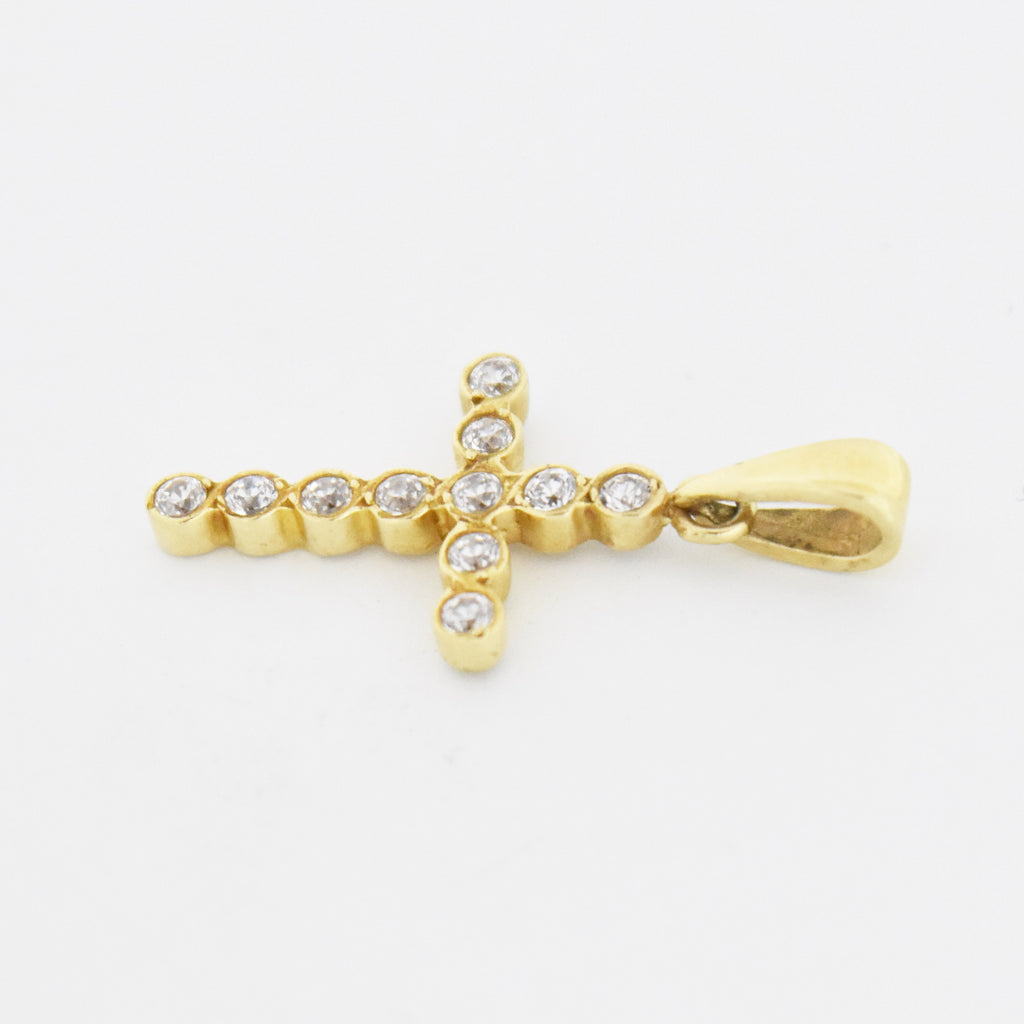 14k Yellow Gold Estate CZ Cross Pendant