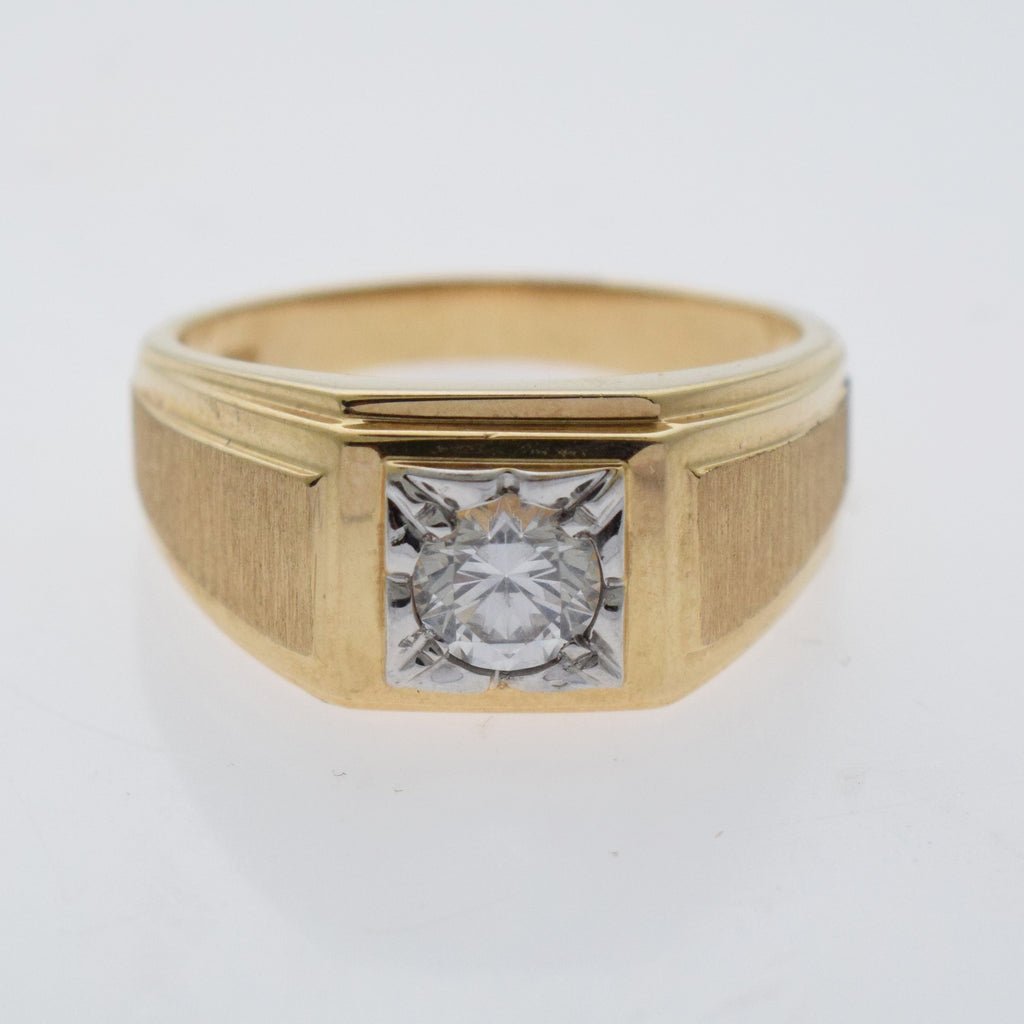 10k Yellow Gold Estate Textured Solitaire CZ Ring Size 12
