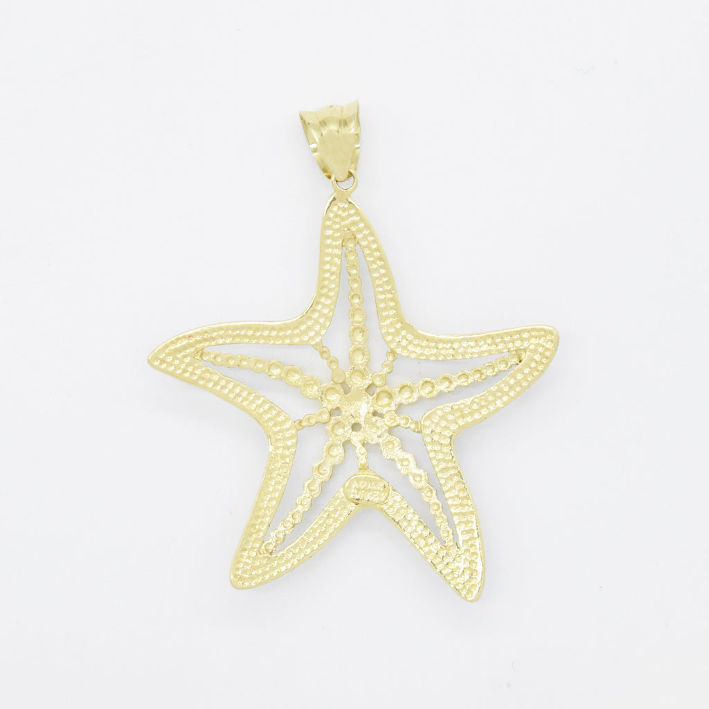 14k Yellow & White Gold Diamond Cut Textured Starfish Pendant