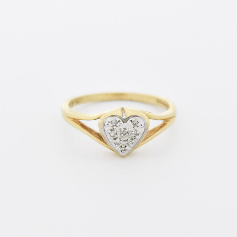 10k Yellow & White Gold Estate Heart Shape Diamond Ring Size 6