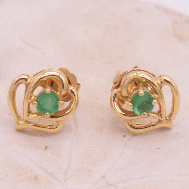 14k YG Open Double Heart Emerald Post Earrings
