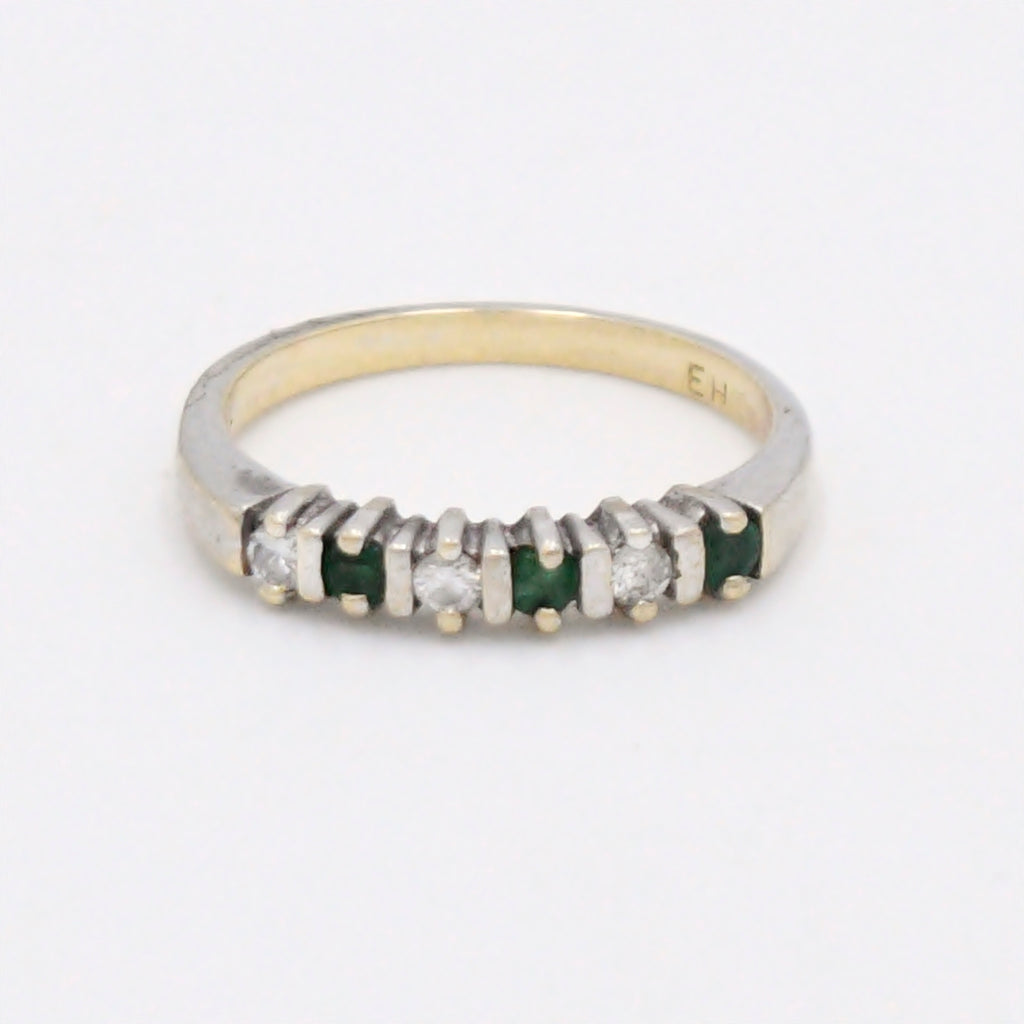 14k Yellow Gold Estate Diamond & Emerald Band/Ring Size 7