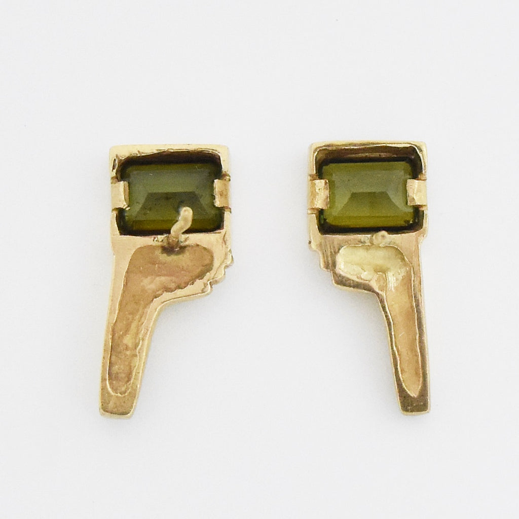 14k Yellow Gold Estate Abstract Emerald Drop/Dangle Earrings